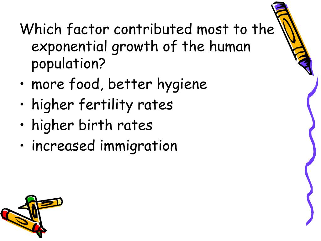 Which factor contributed most to the exponential growth of the human population?