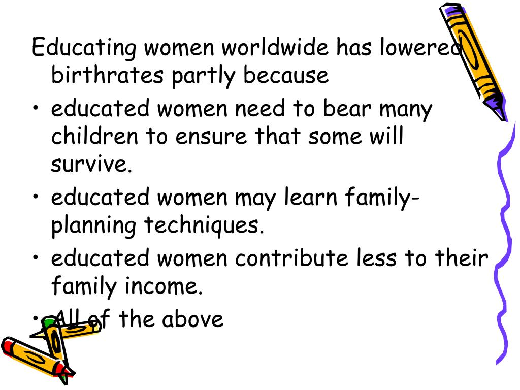 Educating women worldwide has lowered birthrates partly because