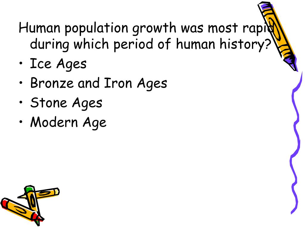 Human population growth was most rapid during which period of human history?