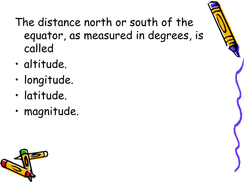 The distance north or south of the equator, as measured in degrees, is called
