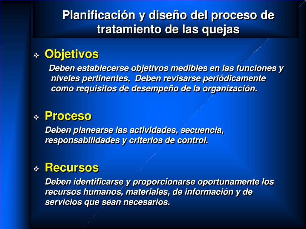 Planificación y diseño del proceso de tratamiento de las quejas