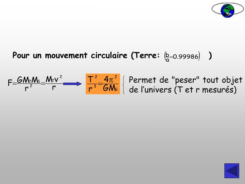 Pour un mouvement circulaire (Terre:)