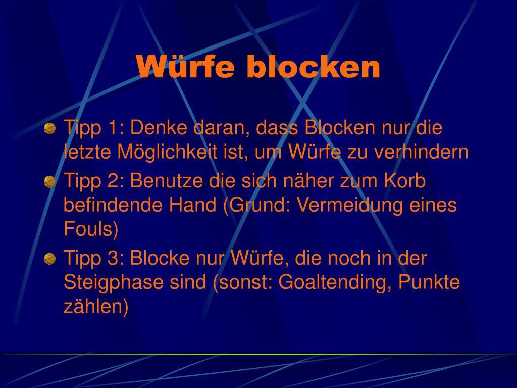 Würfe blocken