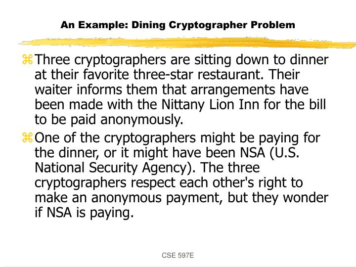 An example dining cryptographer problem