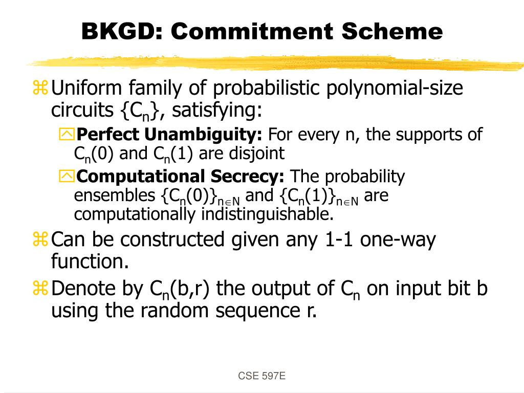 BKGD: Commitment Scheme