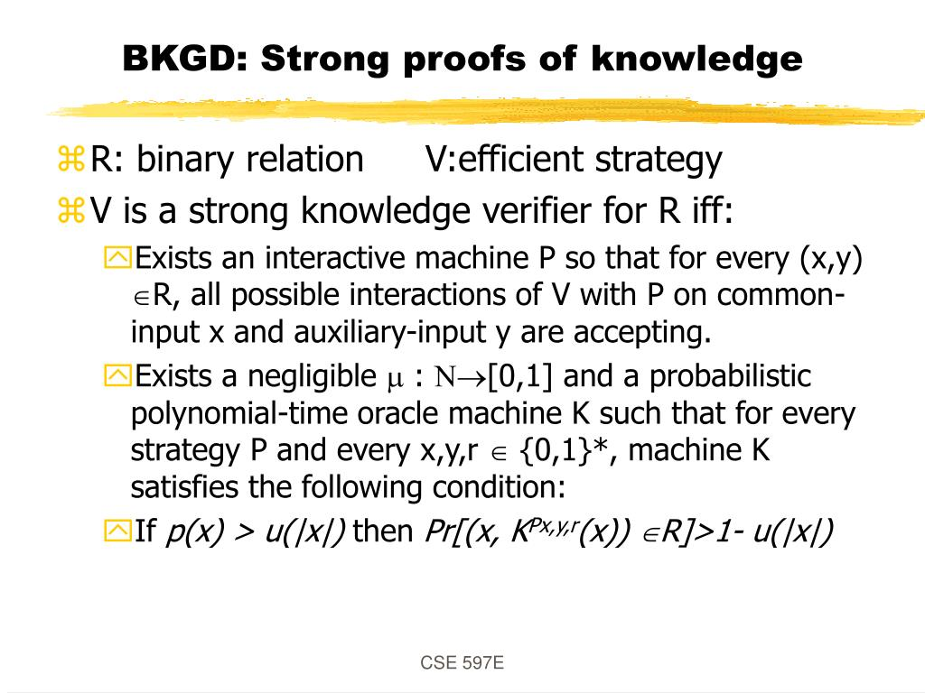 BKGD: Strong proofs of knowledge