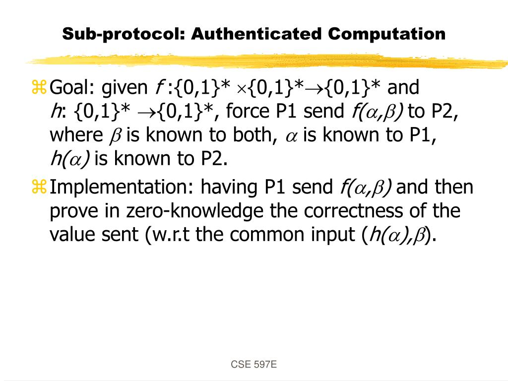 Sub-protocol: Authenticated Computation