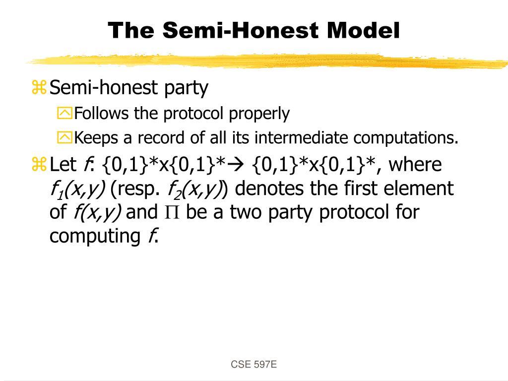 The Semi-Honest Model