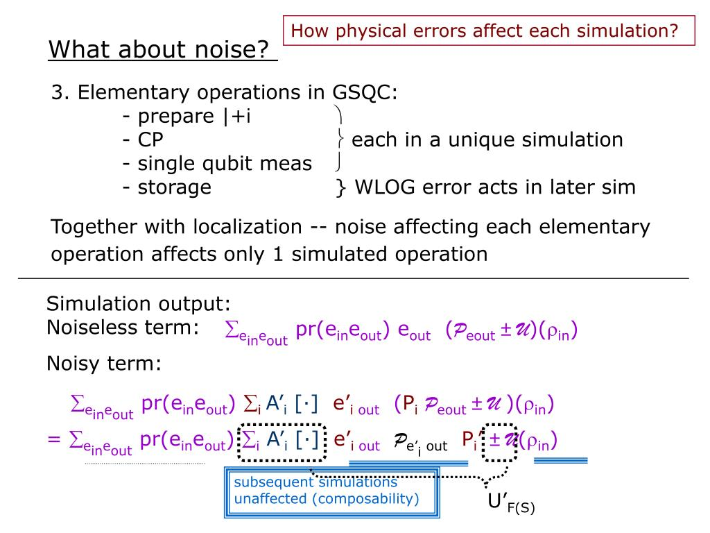 How physical errors affect each simulation?