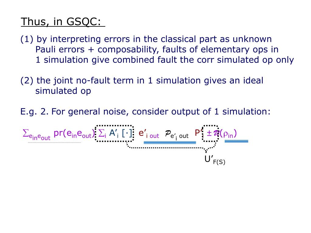 Thus, in GSQC: