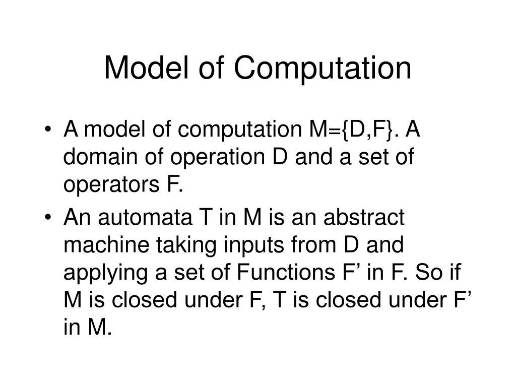 Model of Computation