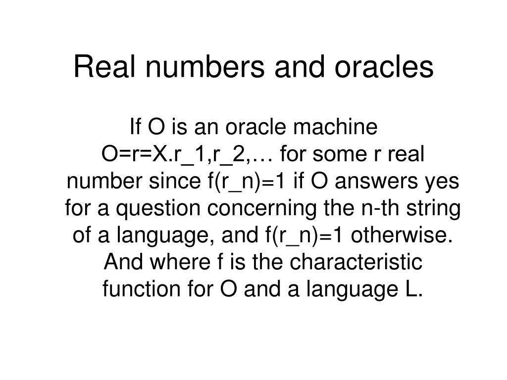 Real numbers and oracles