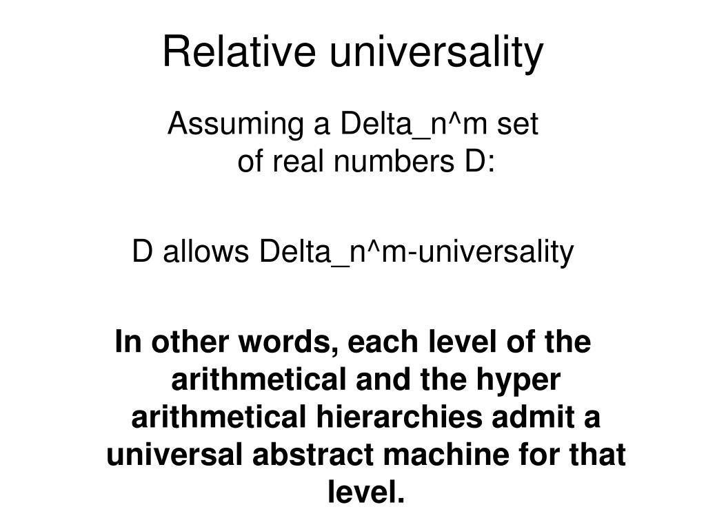 Relative universality