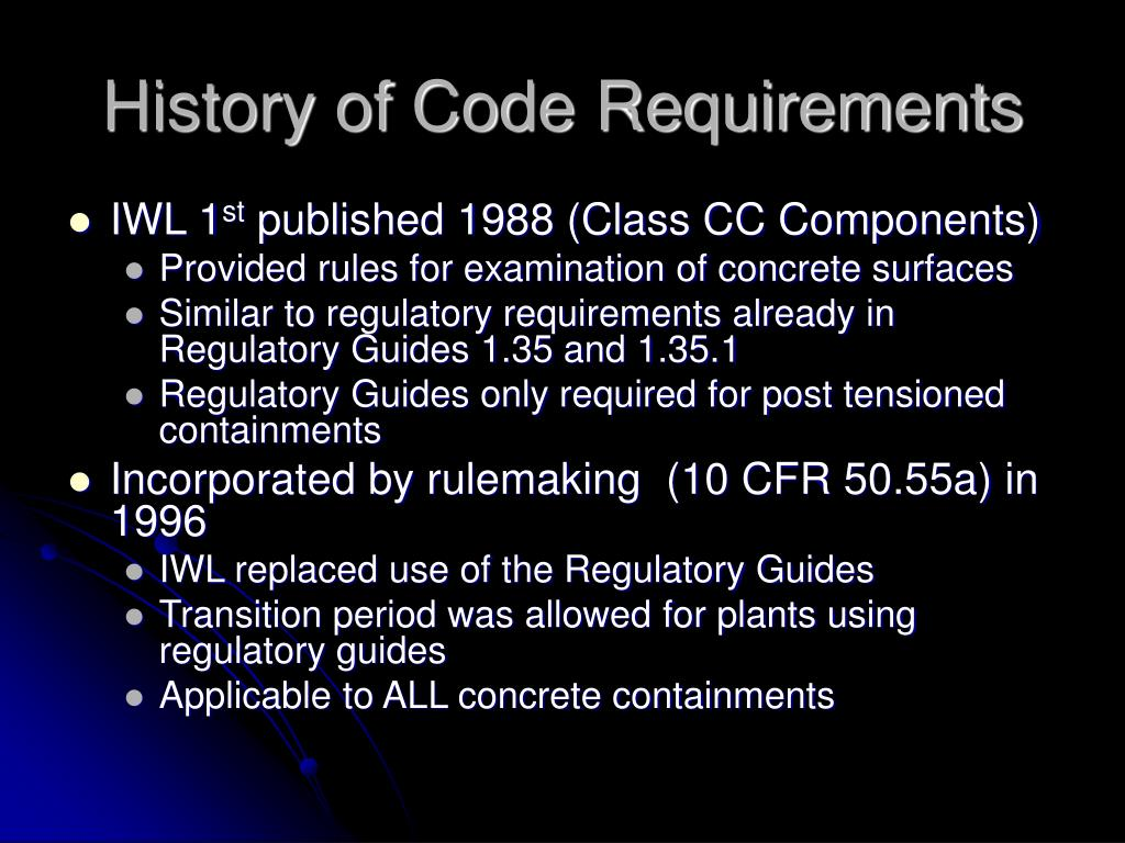 History of Code Requirements