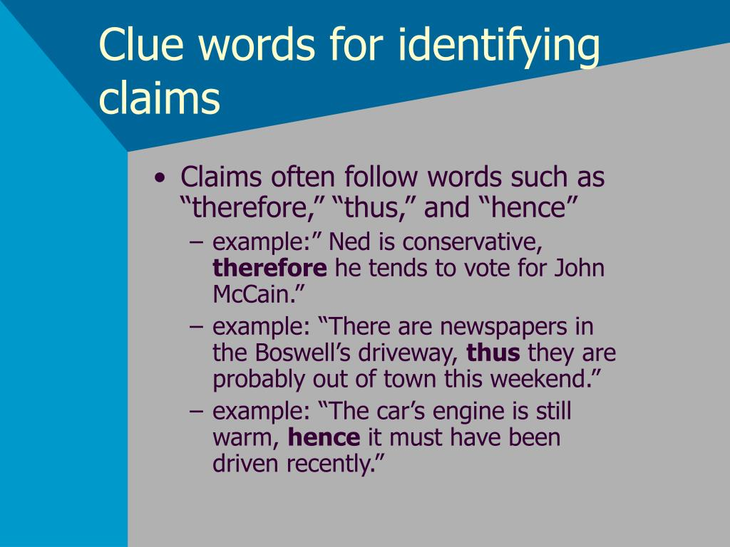 Clue words for identifying claims