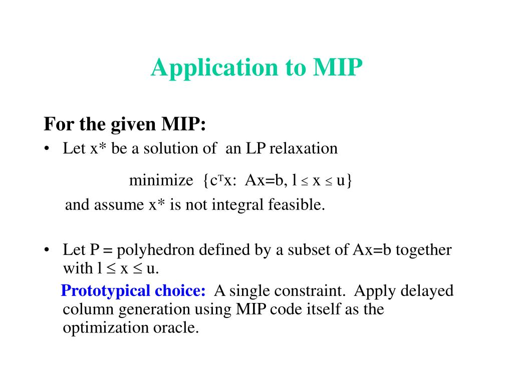 Application to MIP