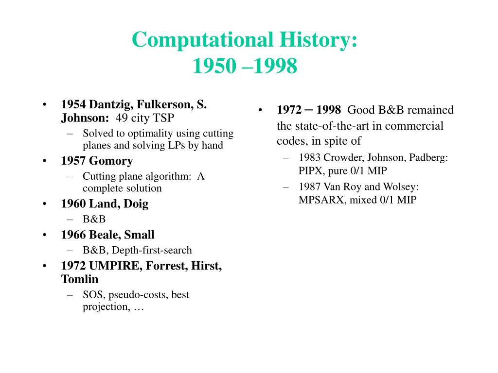1954 Dantzig, Fulkerson, S. Johnson: