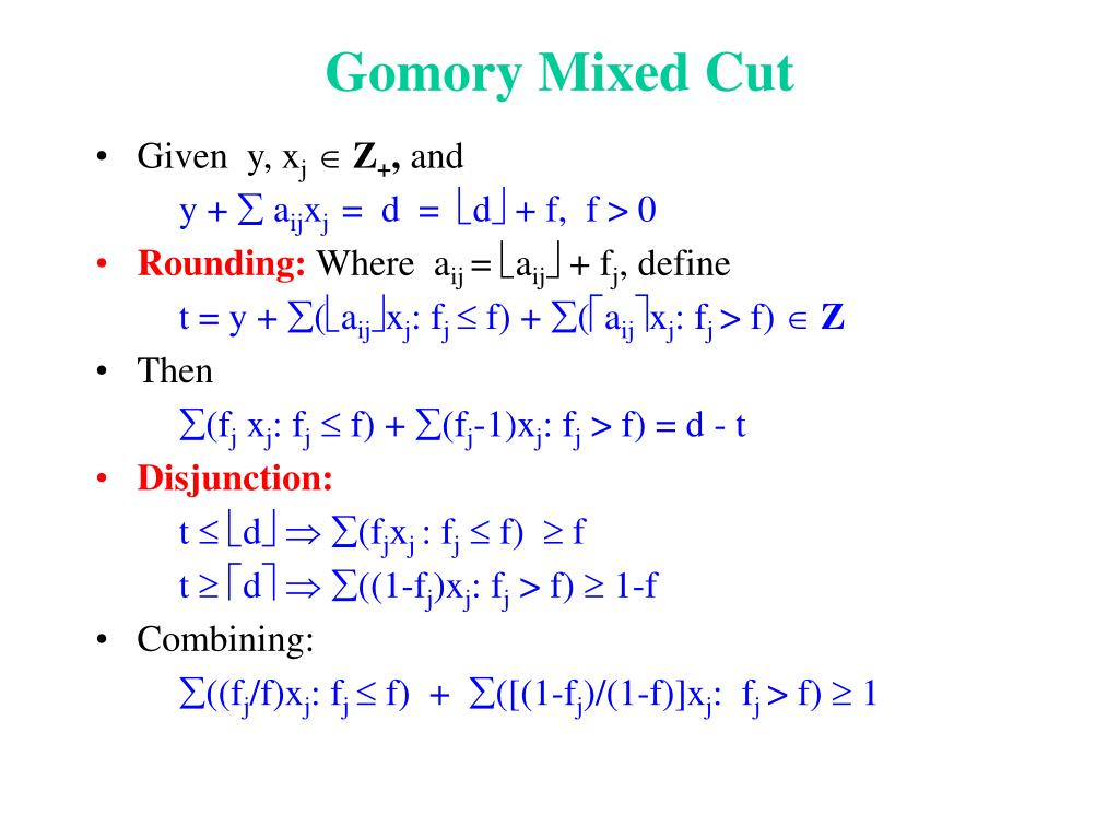 Gomory Mixed Cut