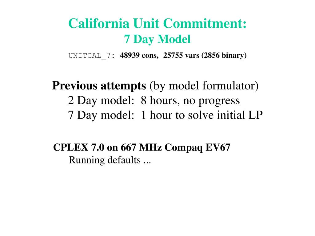 California Unit Commitment: