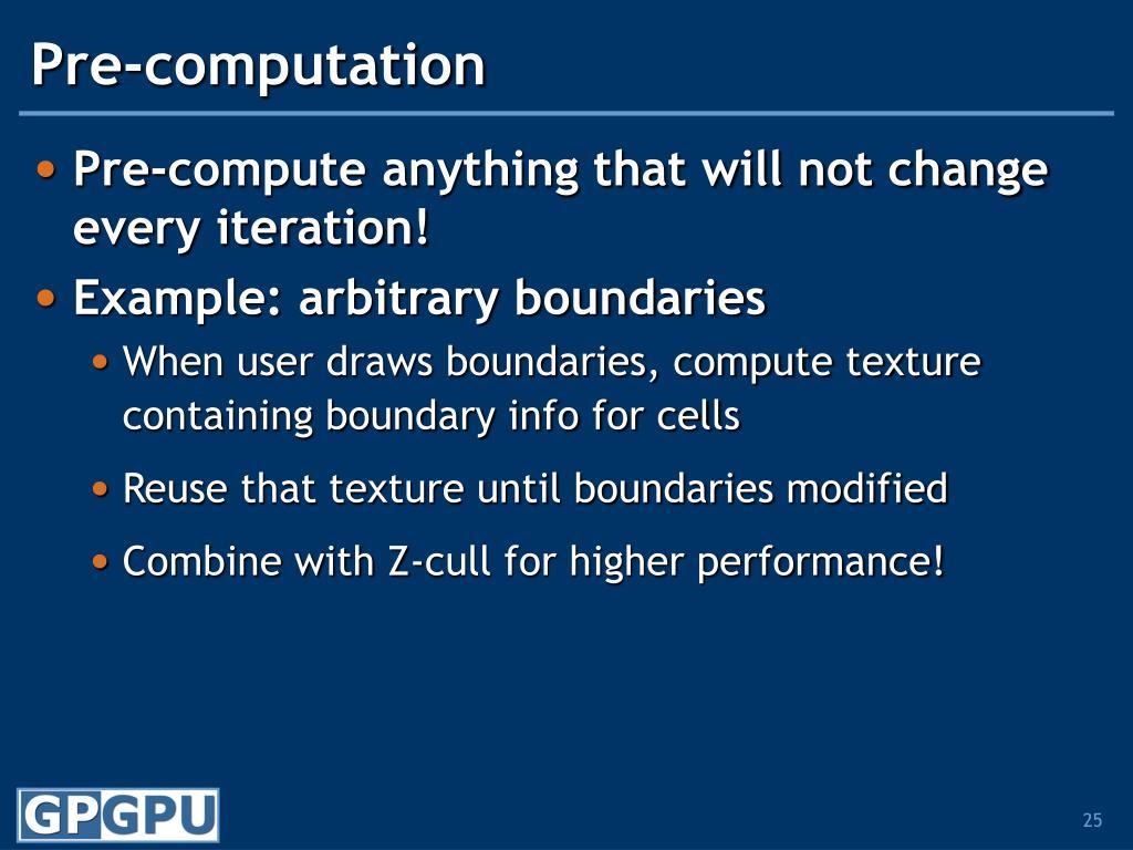 Pre-computation