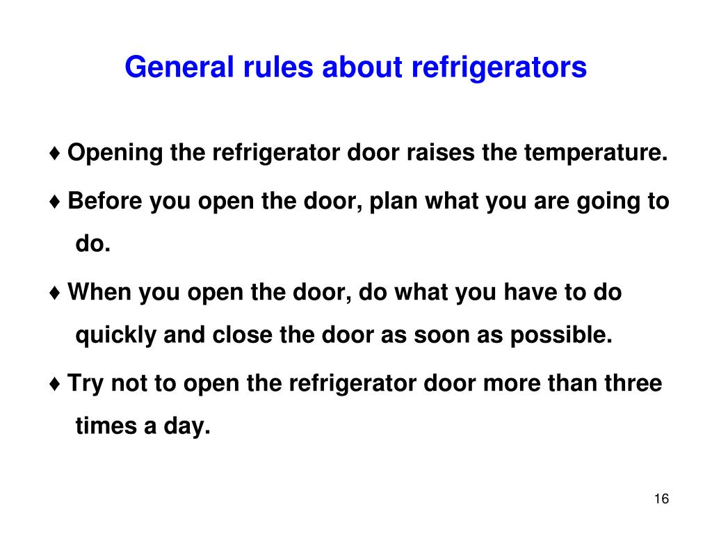 General rules about refrigerators