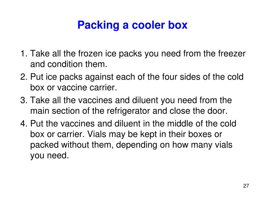 Packing a cooler box
