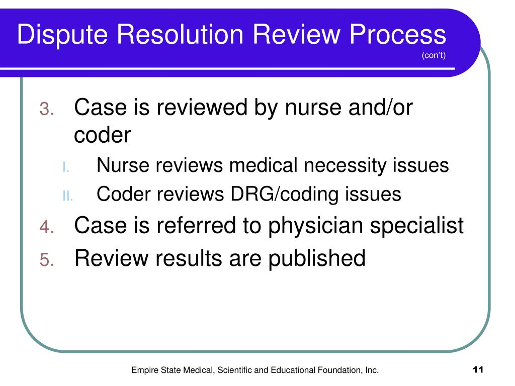 Dispute Resolution Review Process