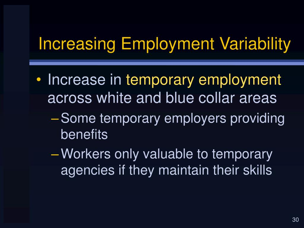 Increasing Employment Variability