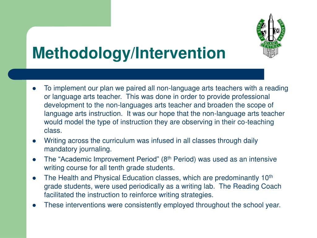 Methodology/Intervention