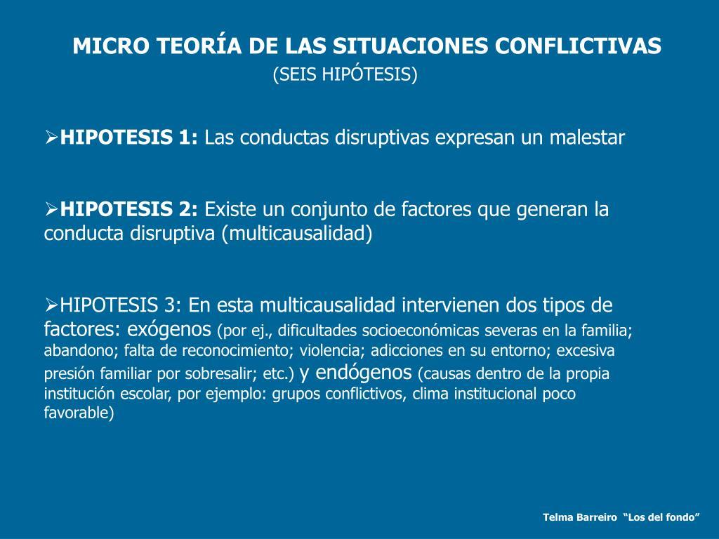 MICRO TEORÍA DE LAS SITUACIONES CONFLICTIVAS