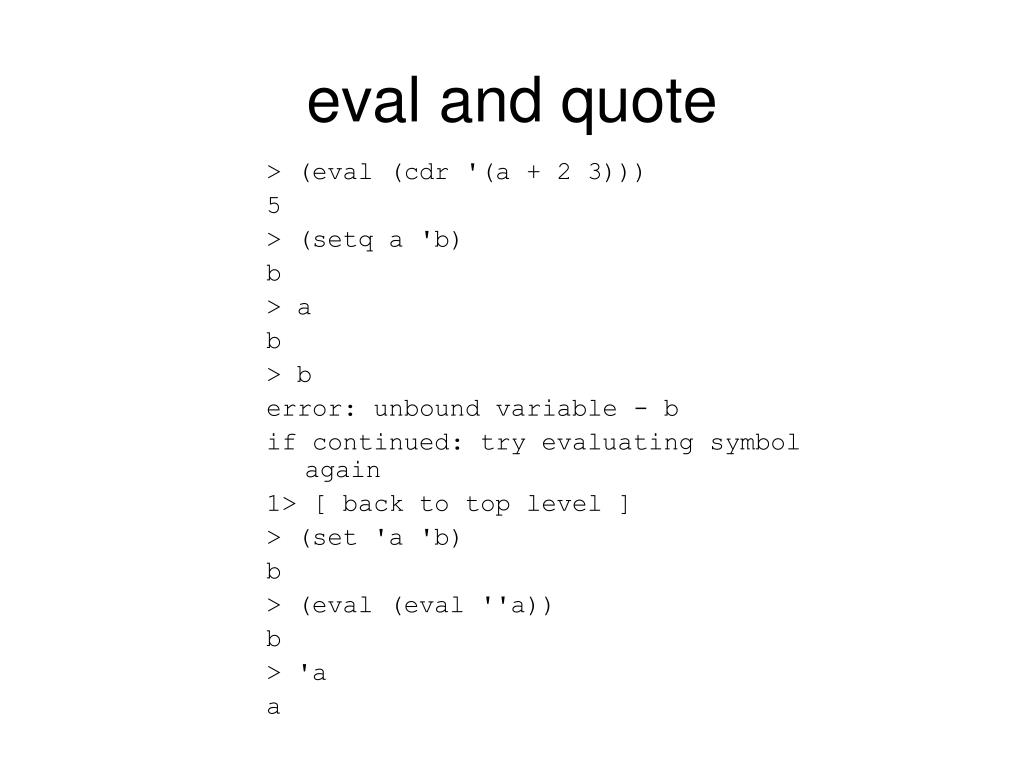 eval and quote
