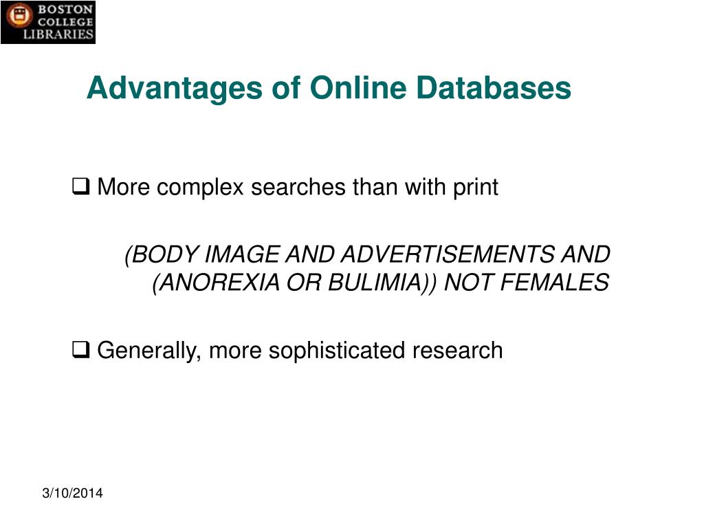 Advantages of Online Databases