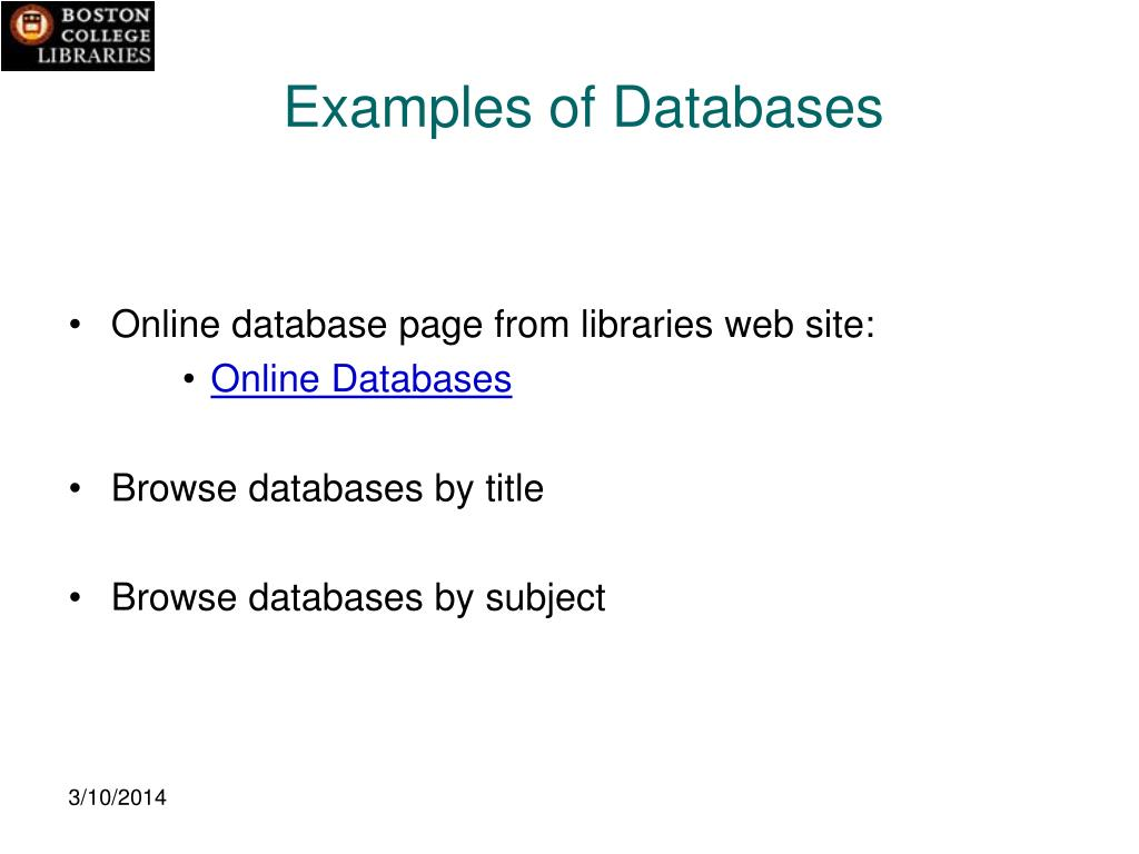 Examples of Databases