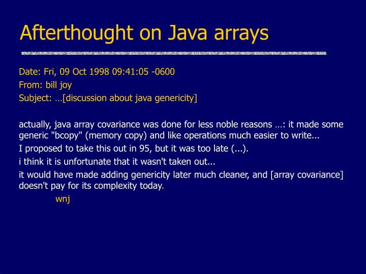 Afterthought on Java arrays
