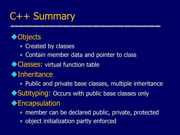 C++ Summary