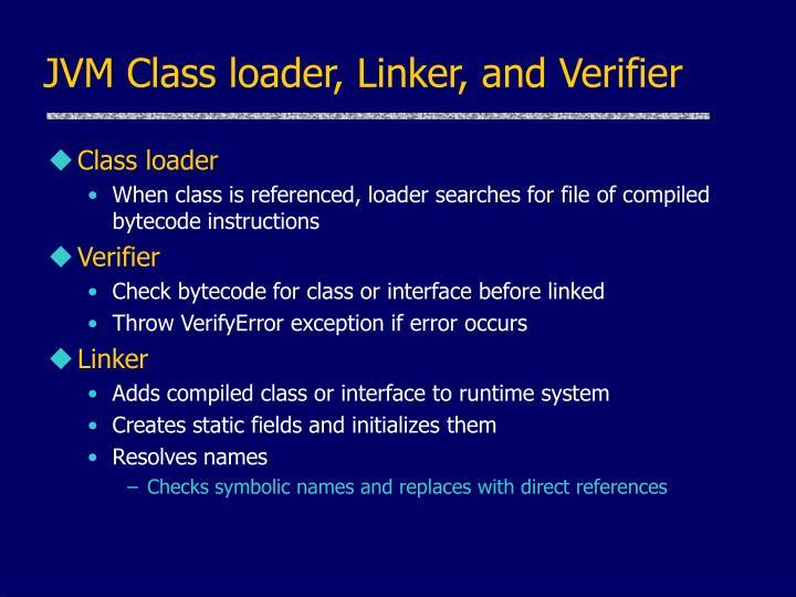 JVM Class loader, Linker, and Verifier