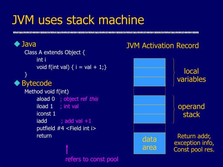 JVM uses stack machine