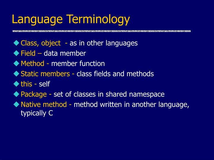 Language Terminology