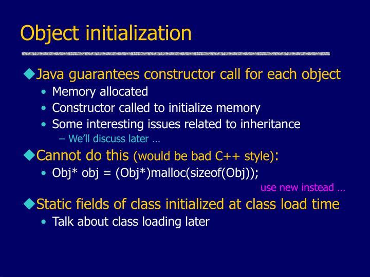 Object initialization