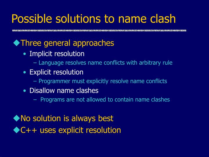 Possible solutions to name clash