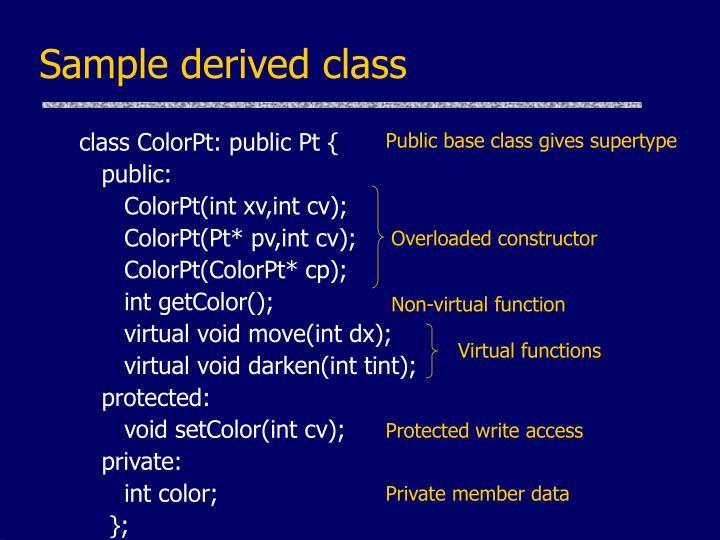 Sample derived class