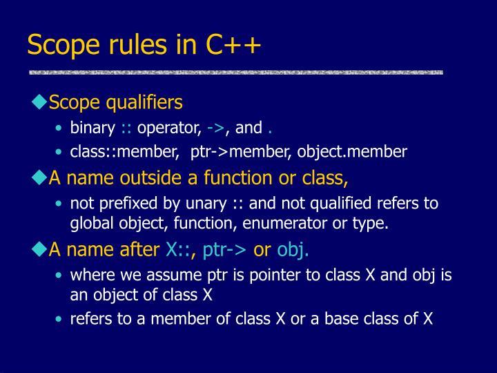 Scope rules in C++