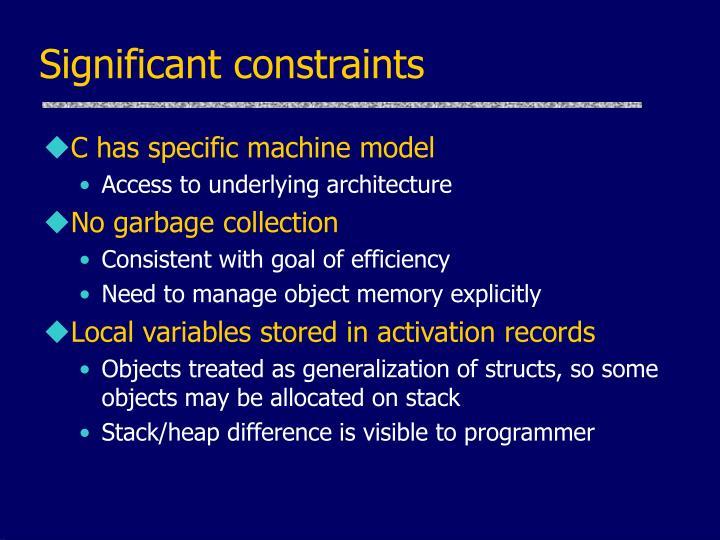 Significant constraints