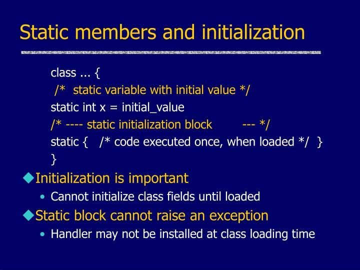 Static members and initialization