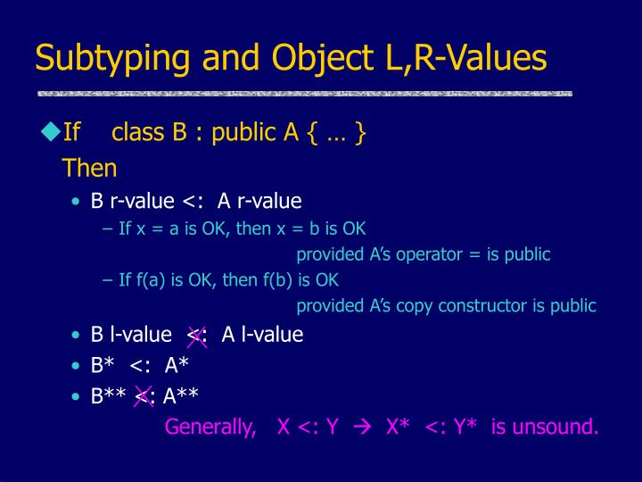 Subtyping and Object L,R-Values