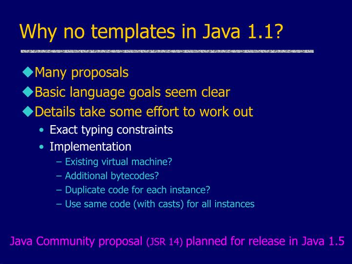 Why no templates in Java 1.1?