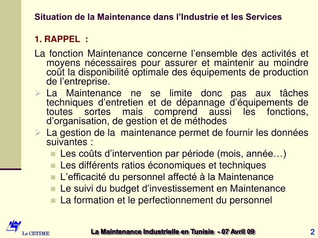 Situation de la Maintenance dans l'Industrie et les Services