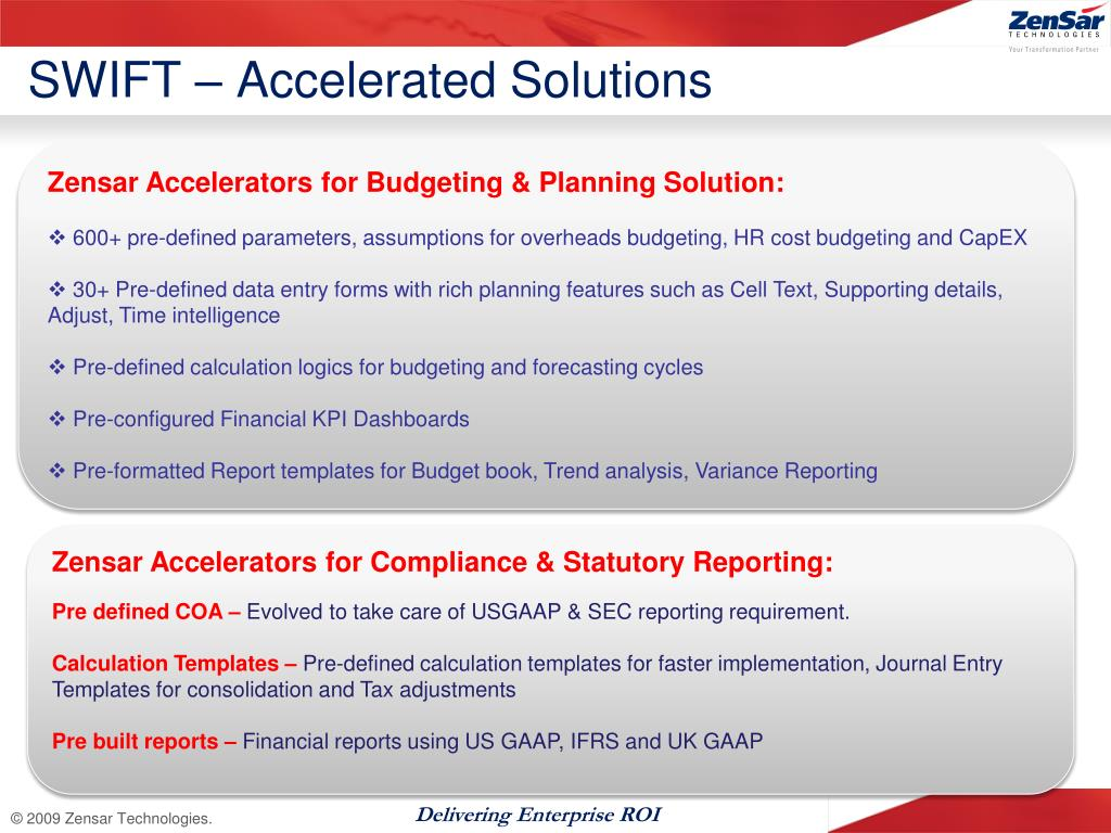 SWIFT – Accelerated Solutions