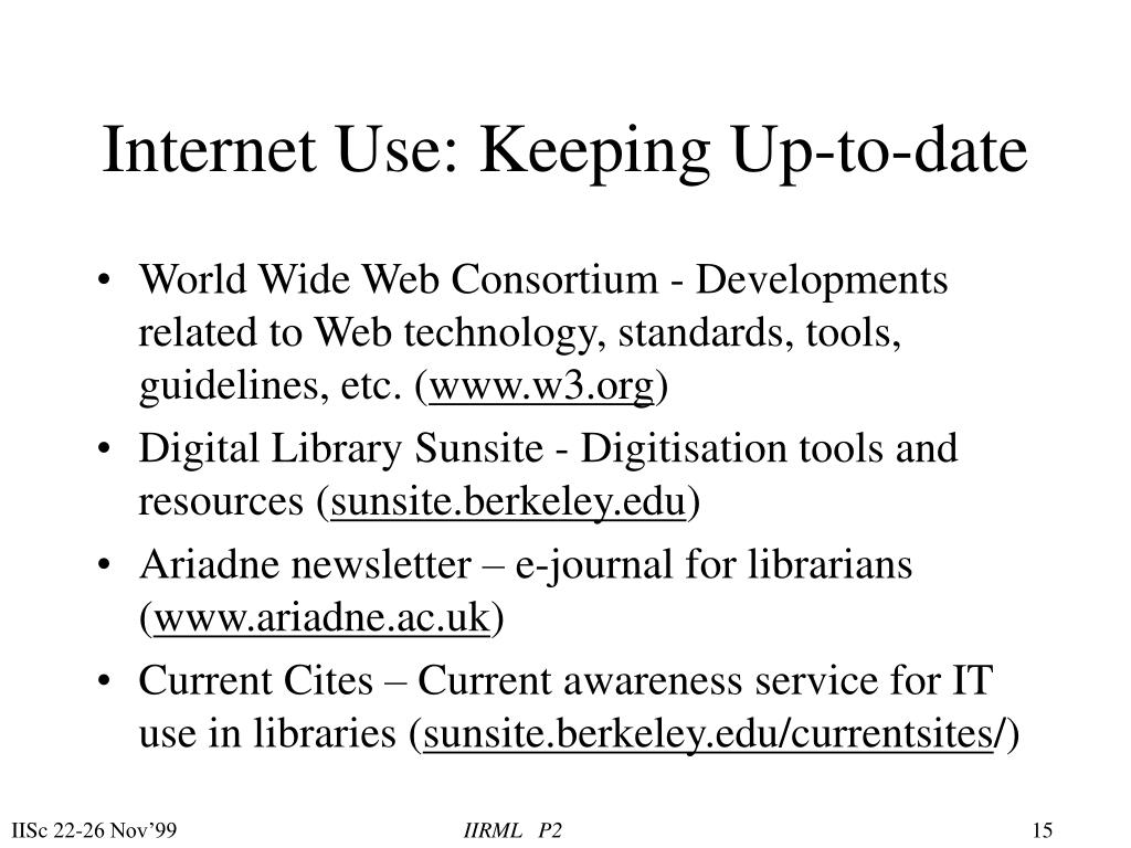 Internet Use: Keeping Up-to-date