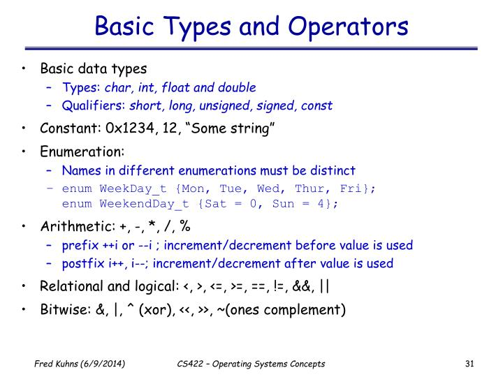 Basic Types and Operators
